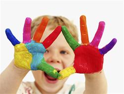 Child with painted hands Image